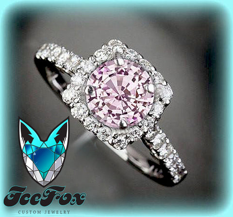 Sapphire Engagement Ring 1.4ct  6.5mm Round Cultured Pink Sapphire set in a 14k White Gold Diamond Halo Setting - The IceFox