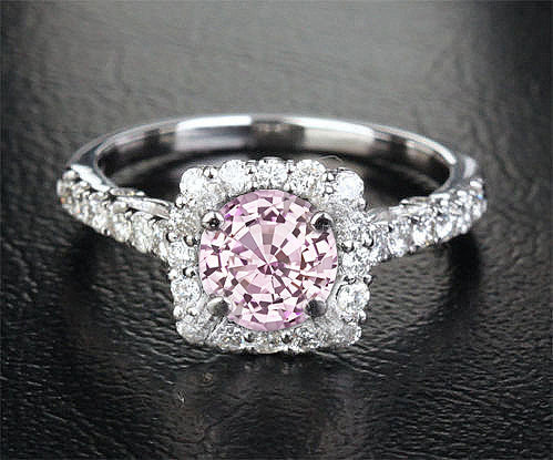 Sapphire Engagement Ring 1.4ct  6.5mm Round Cultured Pink Sapphire set in a 14k White Gold Diamond Halo Setting - In The IceBox