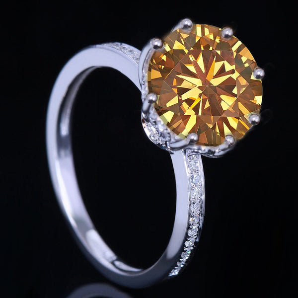 Moissanite Engagement Ring 10.5mm 4.2ct Whiskey Round Brilliant Cut in a 14K White Gold Diamond Filigree Setting - In The IceBox