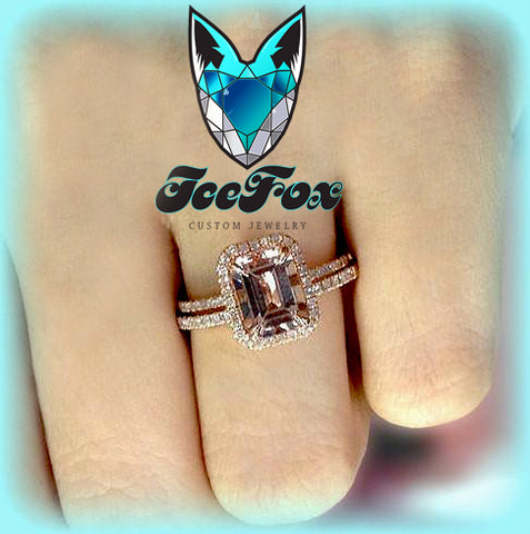 Morganite Engagement Ring and Matching Band  2.1ct Emerald Cut in a 14k Rose Gold Diamond Halo setting - The IceFox