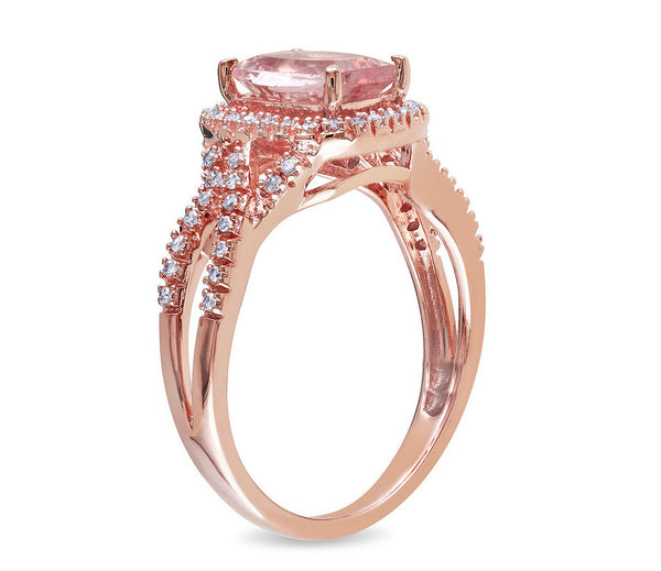 Morganite Engagement Ring 1.3ct Cushion cut in a 10k Rose Gold Diamond  Rectangle Halo setting - In The IceBox