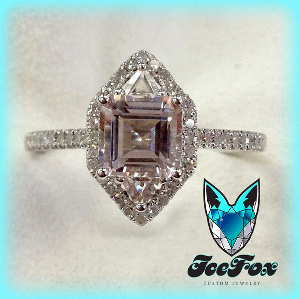 Morganite Engagement Ring 7mm, 1.5ct Asscher Cut Morganite in 14k Rose Gold Diamond Halo Setting - In The IceBox