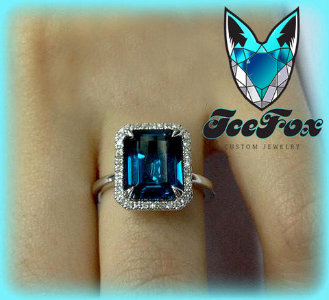 Topaz - London Blue - Engagement Ring 8 x 10mm, 3.25ct Emerald Cut in a 14K White Gold Diamond Halo Setting