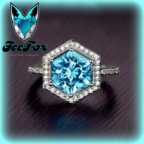 Topaz - London Blue - Engagement Ring 9mm, 3.9ct HexagonCut in a 14K White Gold Diamond Halo Setting - In The IceBox