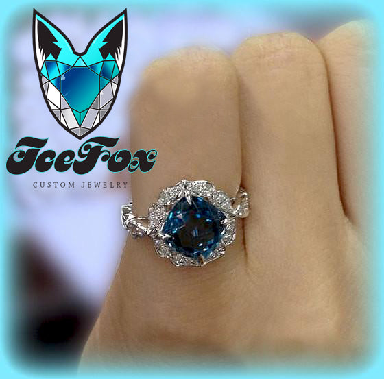 Topaz - London Blue - Engagement Ring 8mm, 3.1ct Cushion Cut in a 14K White Gold Diamond Floral Halo Setting