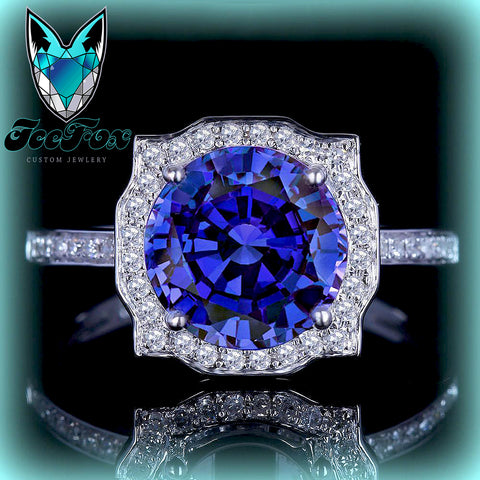 Sapphire - Engagement Ring 8mm, 2ct Cultured Kashmir Blue Sapphire in a 14k White Gold Diamond Halo Setting