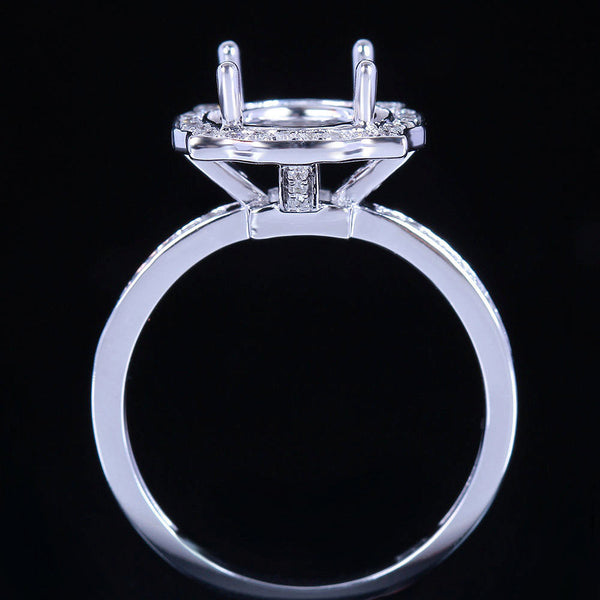 Sapphire - Engagement Ring 8mm, 2ct Cultured Padpardscha Sapphire in a 14k White Gold Diamond Halo Setting - The IceFox