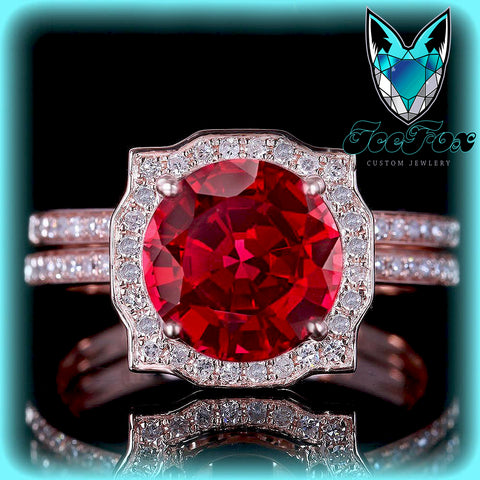 Ruby Engagement Ring 1.25ct Round Cultured Pigeon Blood Ruby set in an 14k Rose Gold Diamond Halo Setting