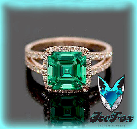 Emerald - Cultured Emerald  Engagement Ring -  7mm 1.6ct Cultured Asscher Cut Emerald set in a 14k Rose Gold Diamond Halo Setting