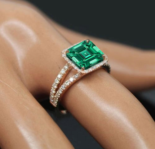 Emerald - Cultured Emerald  Engagement Ring -  7mm 1.6ct Cultured Asscher Cut Emerald set in a 14k Rose Gold Diamond Halo Setting - The IceFox