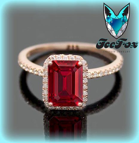 Ruby Engagement Ring 1.5ct Emerald Cut Cultured Pigeon Blood Ruby set in a 14k Rose Gold Diamond Halo Setting