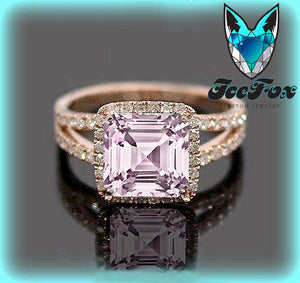 Sapphire Engagement Ring -  7mm 1.6ct Cultured Asscher Cut Pale Pink Sapphire set in a 14k Rose Gold Diamond Halo Setting - The IceFox