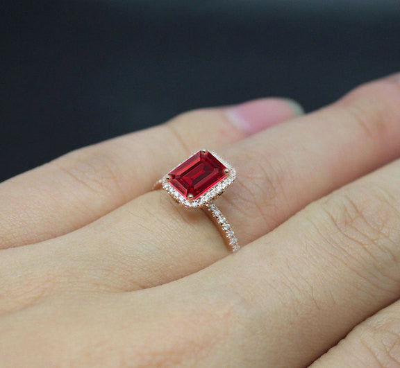 Ruby Engagement Ring 1.5ct Emerald Cut Cultured Pigeon Blood Ruby set in a 14k Rose Gold Diamond Halo Setting - In The IceBox