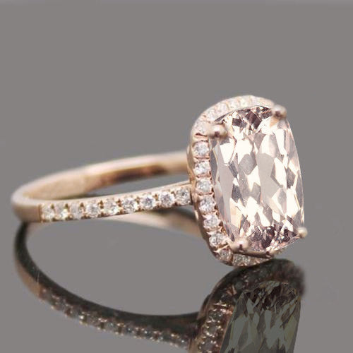 Morganite Engagement Ring 8 x 10mm Cushion Cut Morganite Set in a 14k Rose Gold Diamond Halo - The IceFox