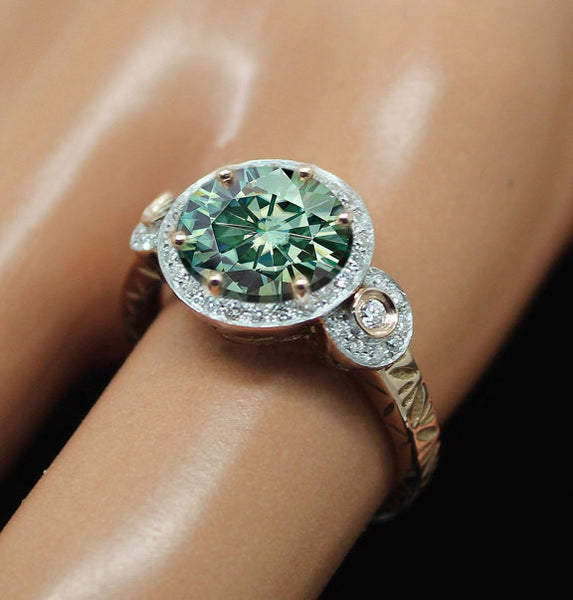 Moissanite - Green Engagement Ring 1.5ct Round Green Moissanite in a 14k Rose and White Gold Diamond Halo Setting - Nice Emerald alternative - In The IceBox