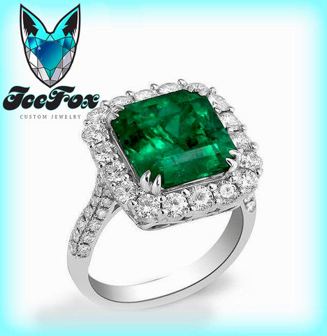 Emerald Ring -  8mm 3.4ct  Square Emerald Cut Cultured Emerald in a  14k White Gold Diamond Halo Setting - In The IceBox
