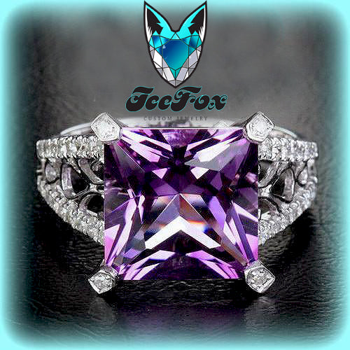 Amethyst Engagement Ring 4.2ct, 10mm Princess Cut Amethyst  in a 14k White Gold Diamond and Scrollwork setting