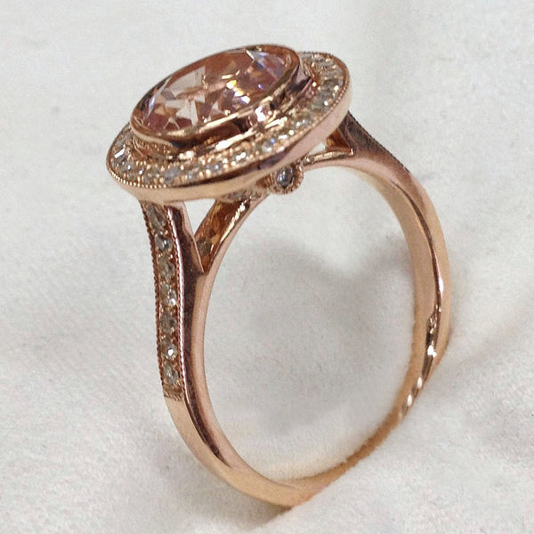 Morganite Engagement Ring 2.3ct, 8mm Round Bezel Set in a 14k Rose Gold Raised Diamond Halo setting - In The IceBox