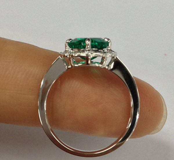 Emerald  Engagement Ring 7mm Cushion Cut set in a 14k White Gold Turned Floral Diamond Halo Setting - In The IceBox