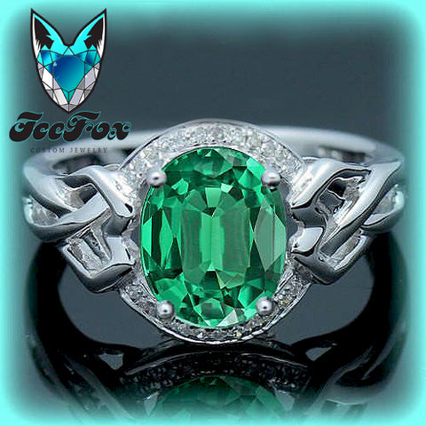 Emerald Celtic Knot Engagement Ring - 2.5ct, 7 x 9mm Cultured Emerald Set in a 14K White Gold Celtic Knot Halo Setting