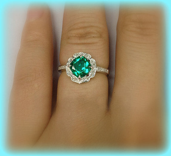 Emerald  Engagement Ring 7mm Cushion Cut set in a 14k White Gold Turned Floral Diamond Halo Setting