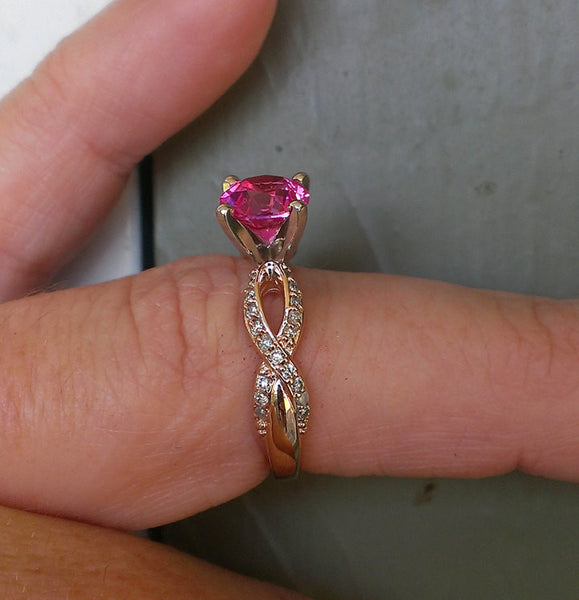 Breast Cancer ring Survivor or Memorial 7mm Cushion Cut Cultured Pink Sapphire set in a 14K Rose Gold Ribbon Twist Band - The IceFox