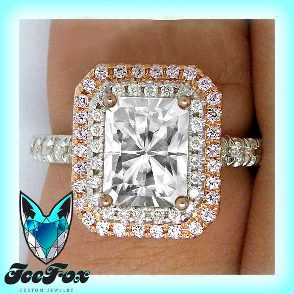 Moissanite Engagement Ring 6 x 8mm 1.5ct Radiant Cut Moissanite in a 14k Rose and White Gold Diamond Double Halo Setting - The IceFox