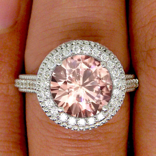 Moissanite - Pink Moissanite Engagement Ring 9mm, 3ct Round Pink Moissanite in a 14k White Gold Diamond Milgrain Halo Setting - In The IceBox