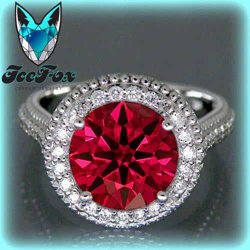 Ruby - 3.34ct, 9mm Round Cultured Hearts and Arrows Cut Ruby Engagement Ring