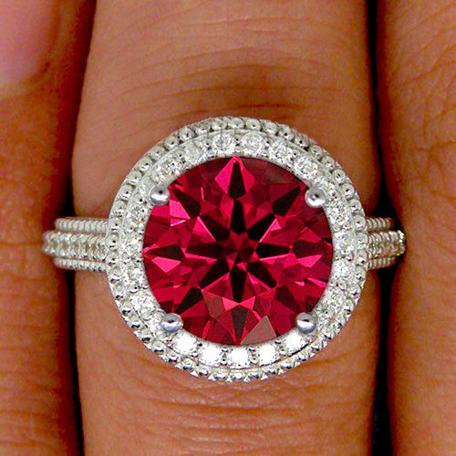 Ruby - 3.34ct, 9mm Round Cultured Hearts and Arrows Cut Ruby Engagement Ring - In The IceBox