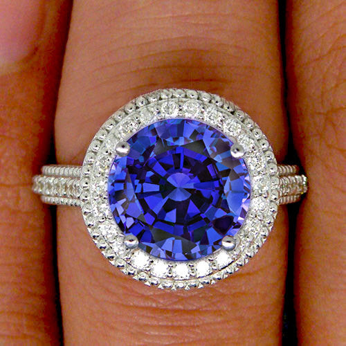 Sapphire -  Engagement Ring 9mm, 3.9ct Cultured Kashmir Blue Sapphire in a 14k White Gold Diamond Milgrain Halo Setting - In The IceBox