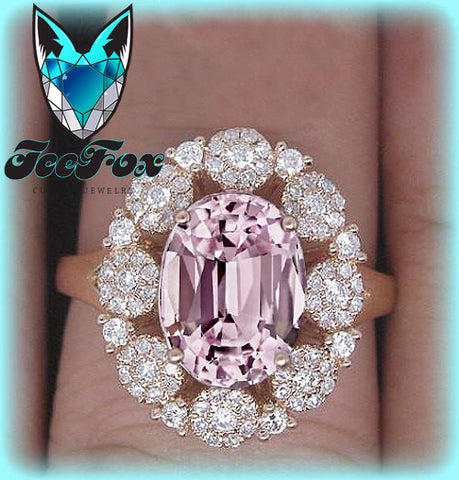 Sapphire Engagement Ring 3.8ct  8 x10mm Pale Pink Cultured Oval Sapphire set in a 14k Rose Gold Lacy Diamond Halo  Setting