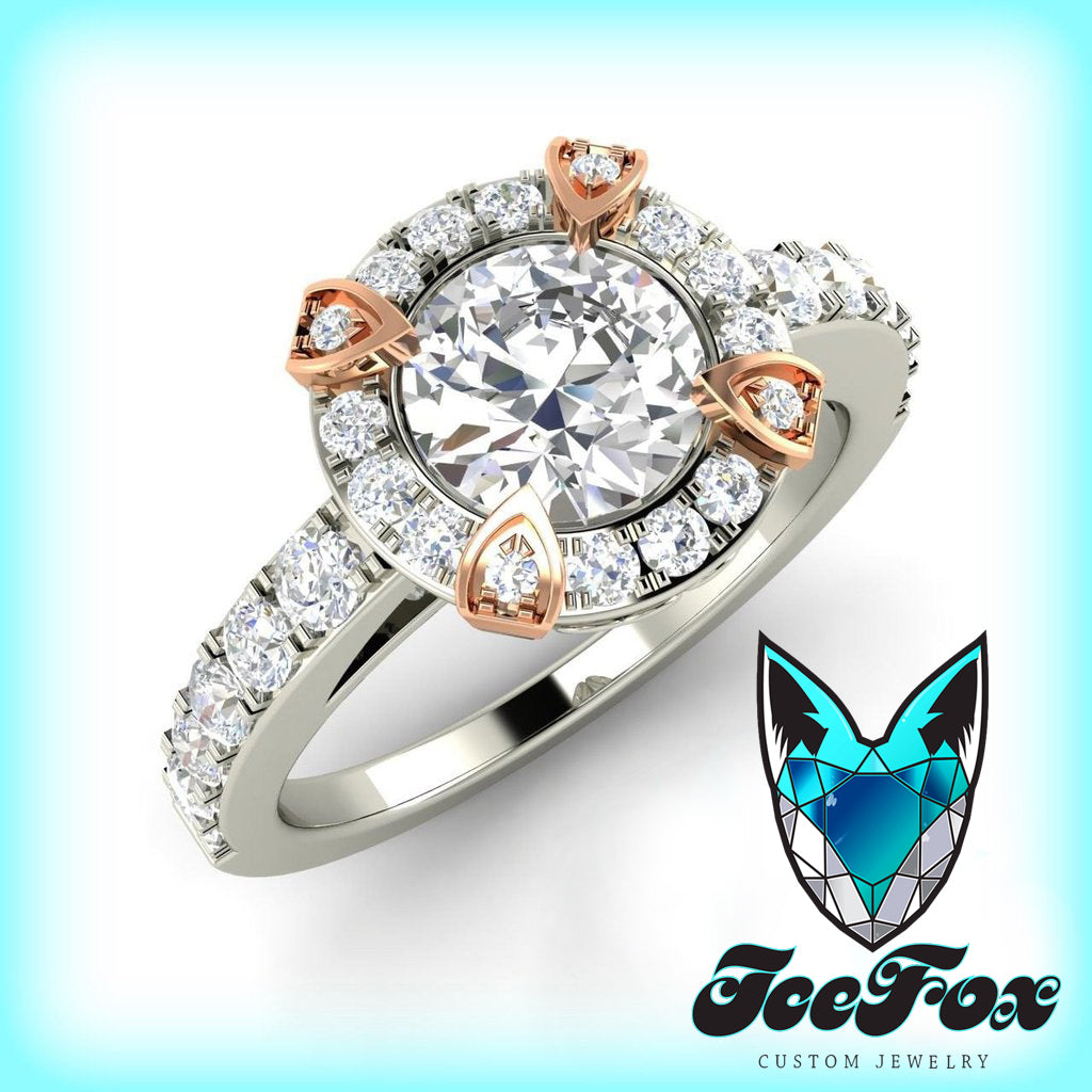 Moissanite Engagement Ring 7mm 1.25ct Round Forever Brilliant Cut in a 14K White and Rose Gold Diamond Halo Setting - In The IceBox