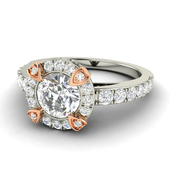 Moissanite Engagement Ring 7mm 1.25ct Round Forever Brilliant Cut in a 14K White and Rose Gold Diamond Halo Setting