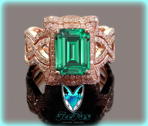Emerald - Cultured Emerald Engagement Ring -  8 x 10mm  3.5ct Cultured Emerald set in a 14k Rose Gold Diamond Halo Setting with two matching bands - In The IceBox
