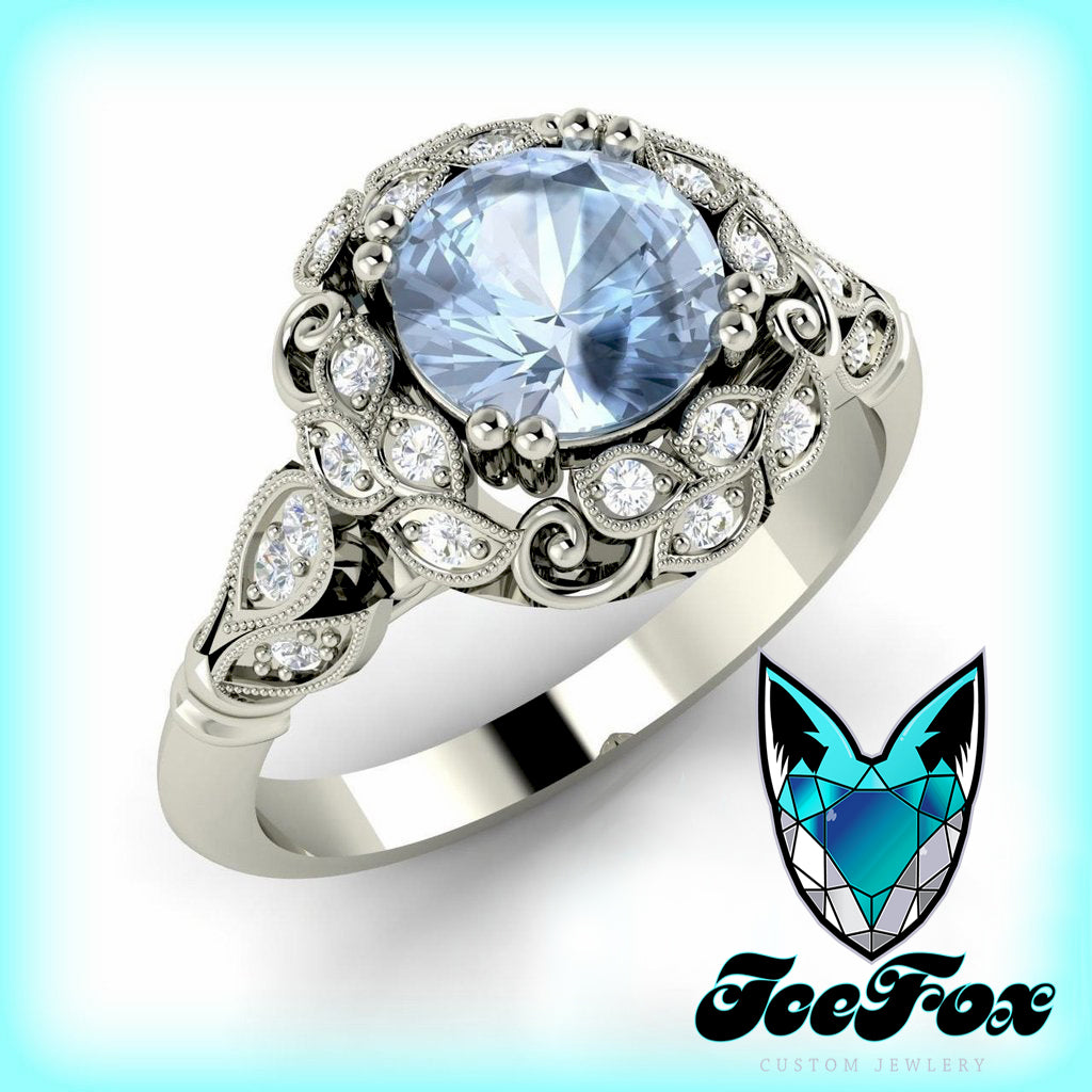 Aquamarine Engagement Ring in a  Floral Diamond Halo Setting  14K White Gold