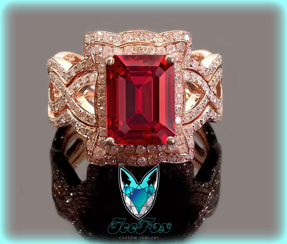 Ruby Engagement Ring 8 x 10mm 3.5ct Cultured Pigeon Blood Ruby in a 14k Rose Gold Diamond Halo Setting with two matching bands - In The IceBox