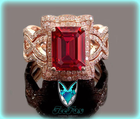 Ruby Engagement Ring 8 x 10mm 3.5ct Cultured Pigeon Blood Ruby in a 14k Rose Gold Diamond Halo Setting with two matching bands