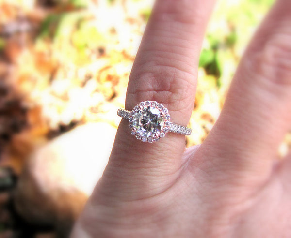 Moissanite Engagement Ring 6.5mm Round in a 14K White and Rose Gold Diamond Halo Setting - In The IceBox
