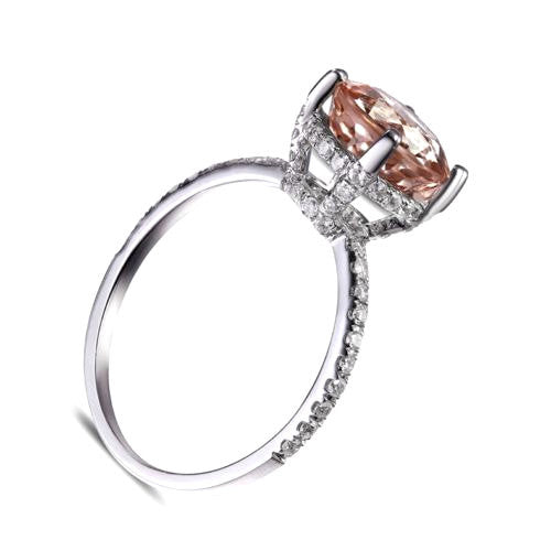 Morganite Engagement Ring ~ 1.78ct, 7.5mm Round Peachy Pink Morganite  in an 18k Rose Gold Diamond Setting - In The IceBox