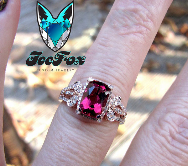 Tourmaline - 6 x 8mm, 1.8ct Cushion Cut Raspberry Tourmaline in a 14K Rose Gold Diamond Halo Teardrop setting