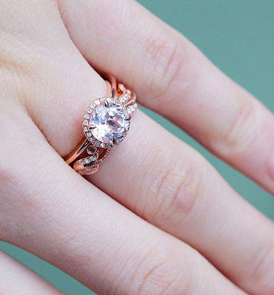 Morganite 1.3ct Round set in a  14k Rose Gold Diamond Halo with a Matching Floral Band