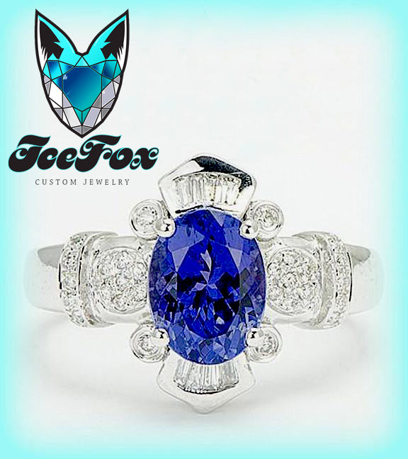 Blue Sapphire - Engagement Ring 8 x 10mm, 3.5ct Oval Cultured Kashmir Blue Sapphire in a 14k White Gold Diamond  Setting