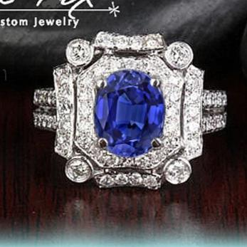 Sapphire Engagement Ring  6 x 8mm 1.85ct Oval Cultured Blue Sapphire in a 14K White Gold Diamond Art Deco Halo Setting