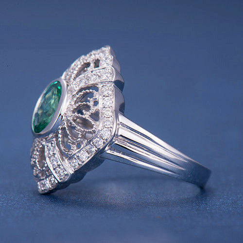 Emerald  Engagement Ring 5x7mm Oval Cut Emerald set in a 14k White Gold Diamond Filigree Halo Setting - The IceFox