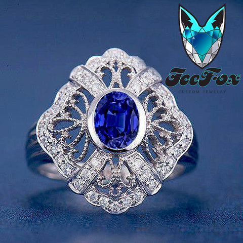 Sapphire Engagement Ring 5x7mm Oval Cut Cultured Kashmir Blue Sapphire set in a 14k White Gold Diamond Filigree Halo Setting