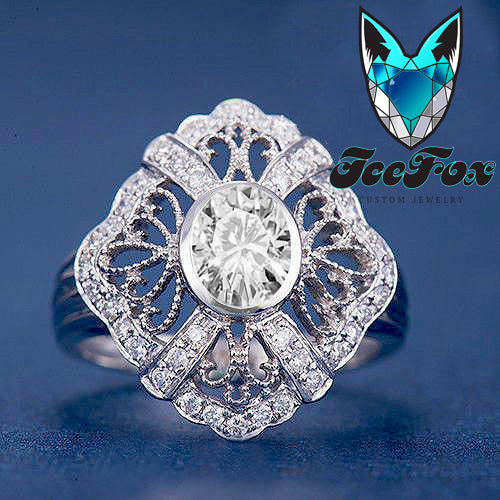 Moissanite Engagement Ring 5x7mm Oval Cut EF Moissanite set in a 14k White Gold Diamond Filigree Halo Setting - In The IceBox