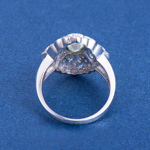 Moissanite Engagement Ring 5x7mm Oval Cut EF Moissanite set in a 14k White Gold Diamond Filigree Halo Setting