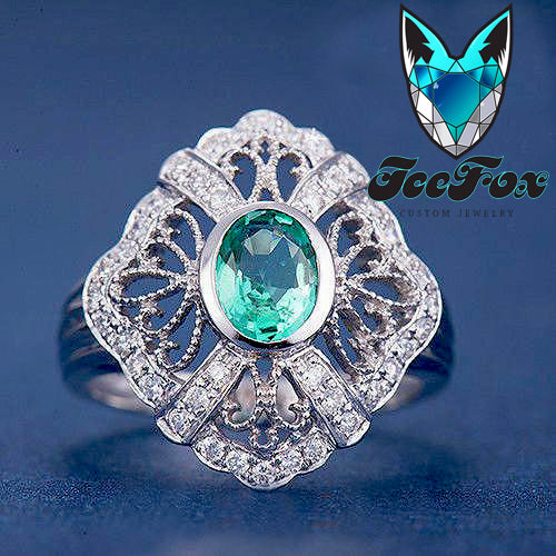 Emerald  Engagement Ring 5x7mm Oval Cut Emerald set in a 14k White Gold Diamond Filigree Halo Setting - In The IceBox