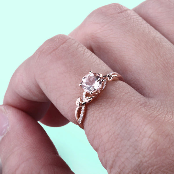 Morganite Engagement Ring ~ .8ct, 6mm Round Peachy Pink Morganite  in a 10k Rose Gold Floral Diamond Setting - The IceFox